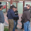Men conversing on the streets of Karnei Shomron