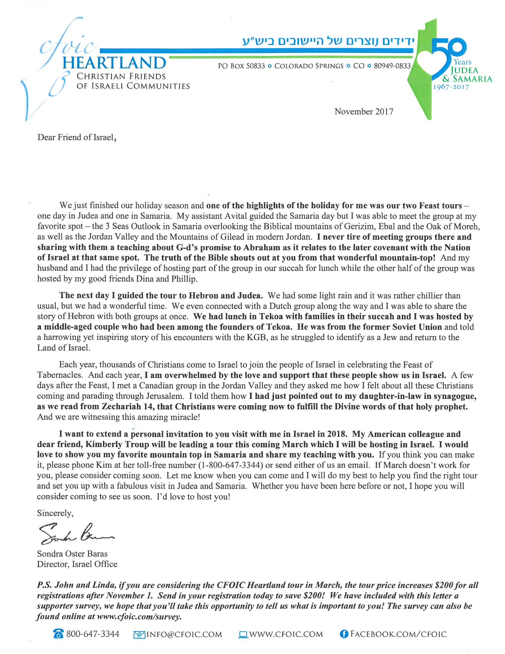 Sondra's November letter